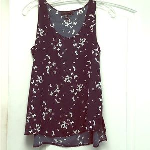 Atmosphere navy & white butterfly tank sz 4